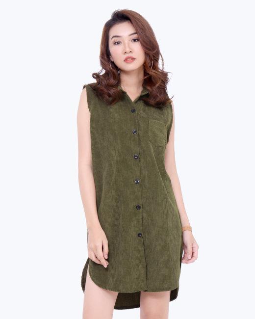 Đầm Suông Kaki Nhung Vạt Bầu Cổ Sơ Mi