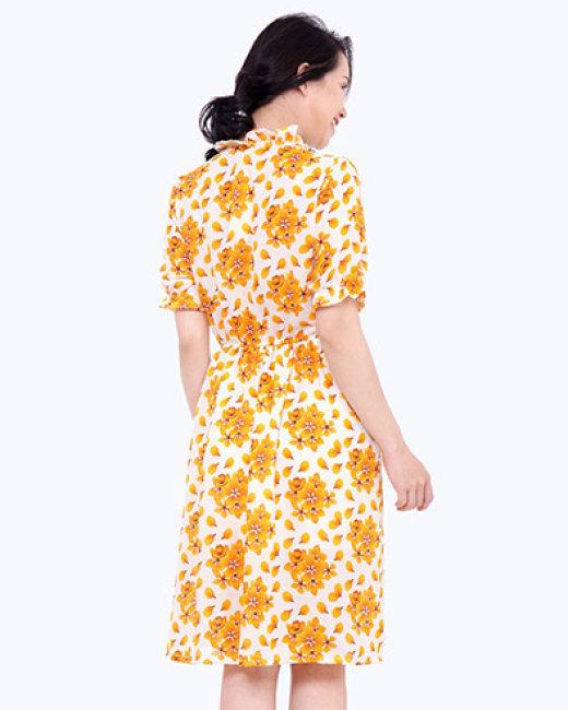 Đầm Xòe Nhún Bèo Họa Tiết TH Libobuy