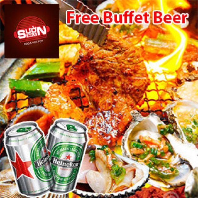 Buffet Tối BBQ Không Giới Hạn, Miễn Phí Buffet Beer - NH Sườn No.1...