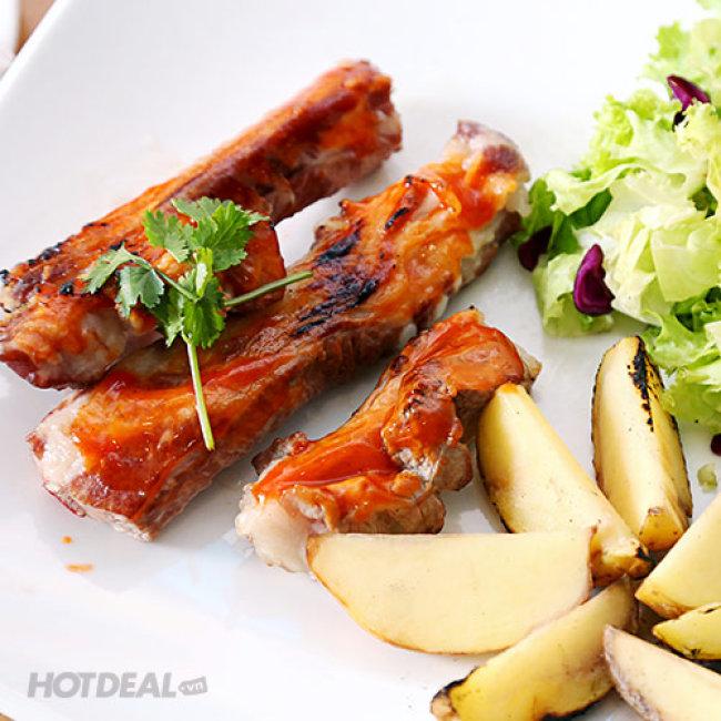 Set Sườn Nướng Sốt BBQ + Khoai Tây Gold + Rau Củ + Salad Cho 2...