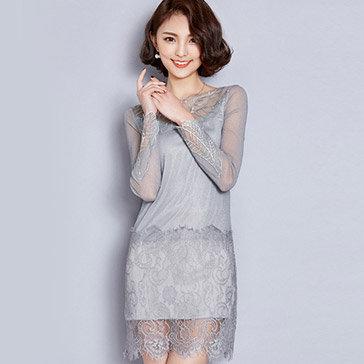 Đầm Ánh Kim Phối Ren Sang Trọng