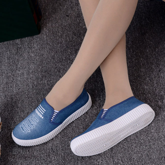 Giày Lười Vải Jean Wax Thời Trang