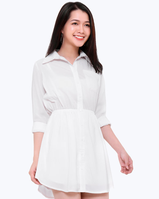 Đầm Sơ Mi Nhún Eo Thời Trang