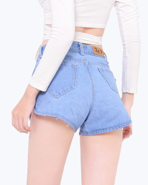 Quần Short Jean In Hoa Mai Thời Trang