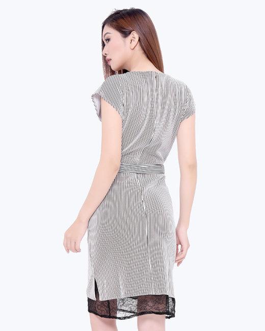 Đầm Suông Sọc Đứng Phối Ren Kèm Thắt Lưng