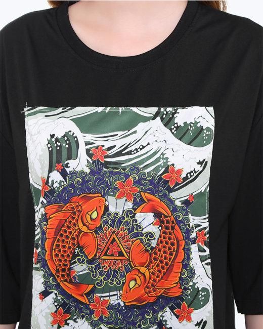 Áo Thun Nam/Nữ Họa Tiết Cá Chép
