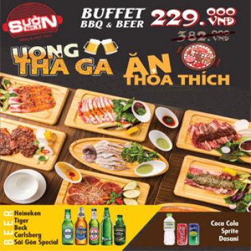 Buffet Tối Thịt Bò & Hải Sản Nướng Đẳng Cấp 5*, Free Buffet Beer & Nước Ngọt, View Phố Đi Bộ Cực Đẹp - NH Sườn No.1 Nguyễn Huệ