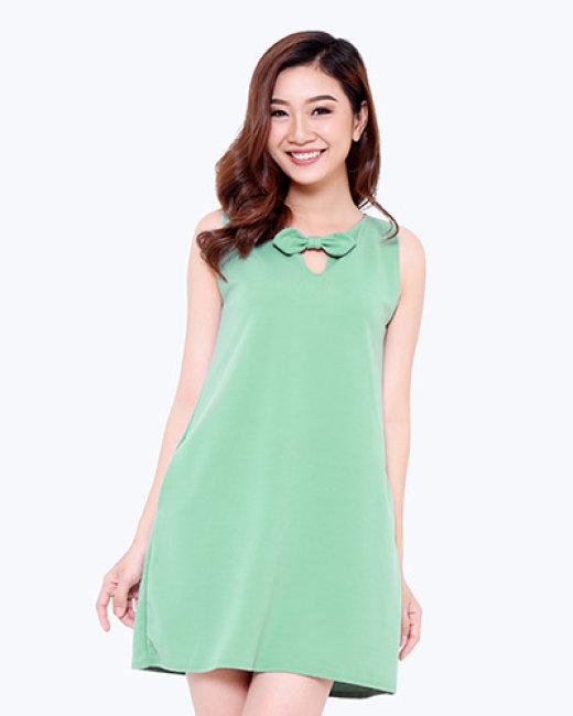 Đầm Suông Nơ Cổ Cách Điệu