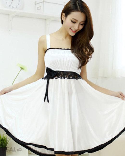 Đầm Ngủ Thun Lạnh Phối Ren Eo