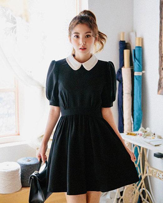 Đầm Xòe Cổ Sen Hàn Quốc