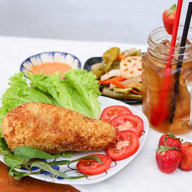 Coconut Milk - Combo Đùi Gà Chiên Bó Xôi Kim Chi + Trà Dâu/ Táo/Bạc...