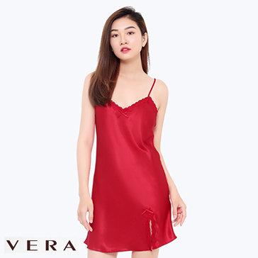 Đầm Lụa Vera 2 Dây Xẻ Vạt Phối Ren