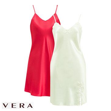 Combo 2 Đầm Lụa Vera 2 Dây Trơn + Phối Ren - TH Vera