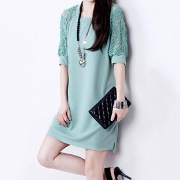 Đầm Suông Oversize Tay Phối Ren