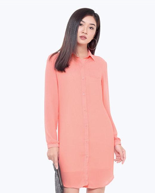 Đầm Sơ Mi Kèm Áo Lá Thời Trang