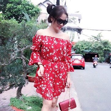 Đầm Bông Bẹt Vai Tiểu Thư