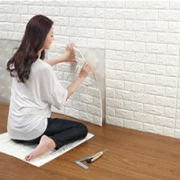 Xốp 3D Dán Tường Giả Gạch Hàn Quốc Cực Đẹp (Trắng, Kem, Xanh Biển)