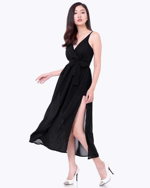 Đầm Maxi 2 Dây Xẻ Tà Sắc Màu