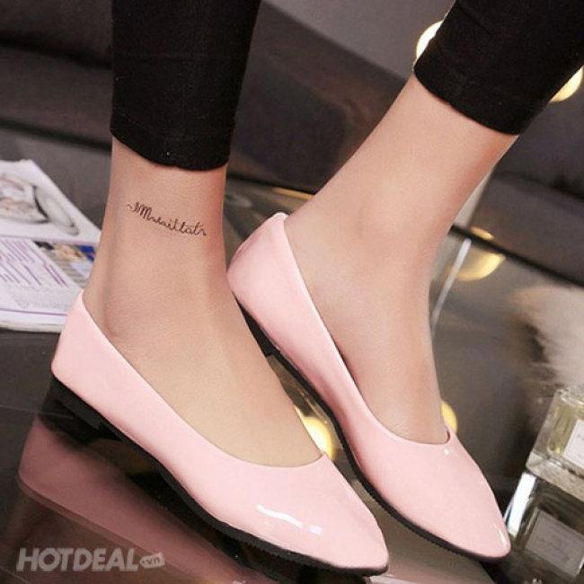 Giày Búp Bê Da Bóng Sắc Màu Thời Trang