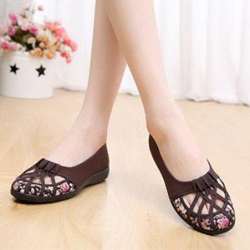 Giày Búp Bê Hoa Đan Dây Dịu Dàng