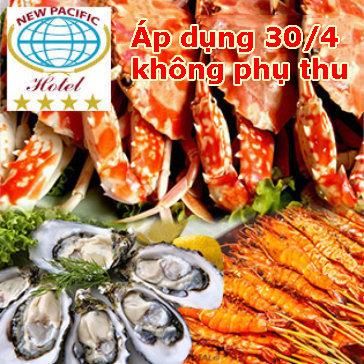 Buffet Tối T7, CN Hải Sản Cao Cấp, Bò Mỹ, - Free Nước,Kem, Trái Cây Tại New Pacific 4*
