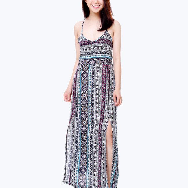 Đầm Maxi Họa Tiết Lưng Chéo