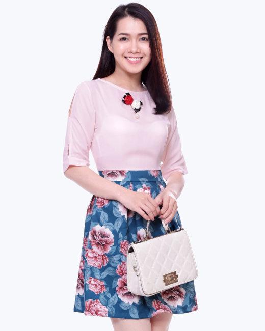 Đầm Xòe Áo Tay Lỡ Kết Hoa Phối Chân Váy Xòe
