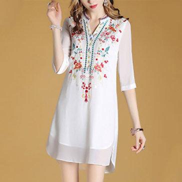 Đầm Lệch Tà In Thổ Cẩm Fashion
