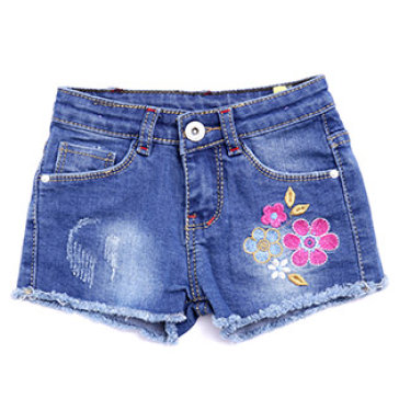 Quần Short Jeans Thêu Hoa Lai Tua Rua Nanio Cho Bé Từ 6 Tháng Đến 4...