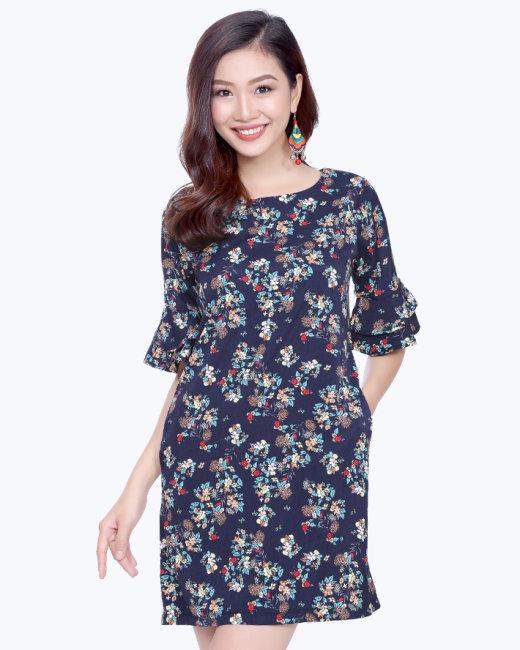 Đầm Họa Tiết Hoa Tay Loe
