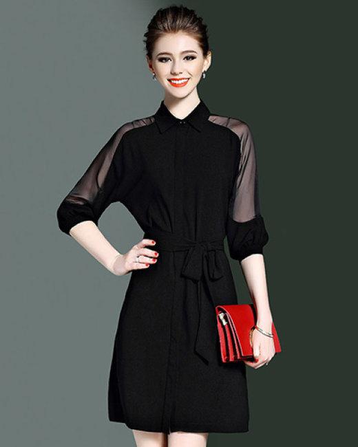 Đầm Cổ Sơ Mi Phối Lưới Style
