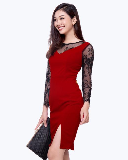 Đầm Dự Tiệc Phối Ren Shibi SB095
