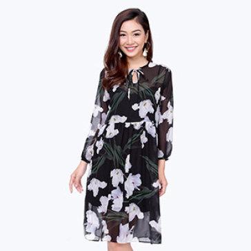 Đầm Maxi Hoa Kèm Áo Lá Bela