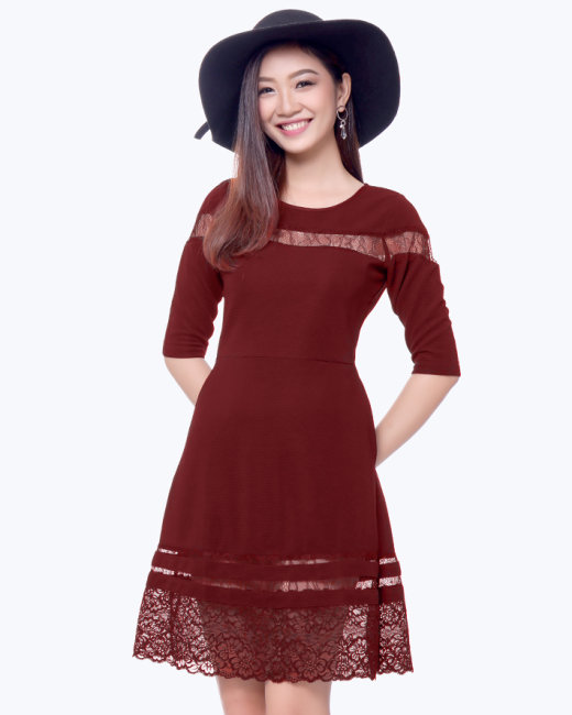 Đầm Xòe Tay Lỡ Phối Ren