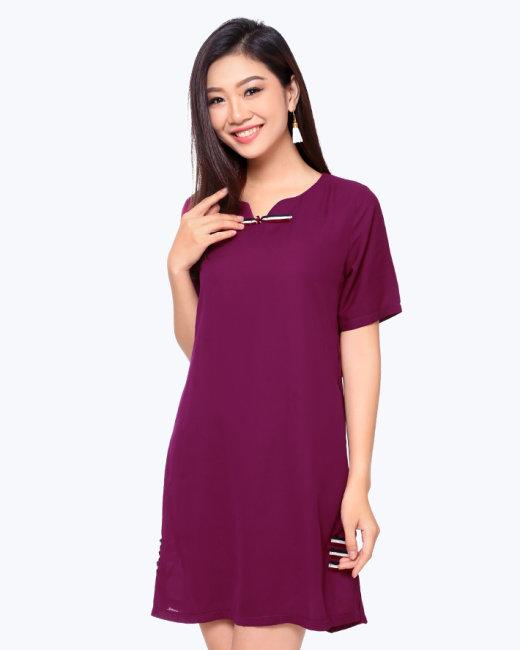 Đầm Suông Phối Nút Style
