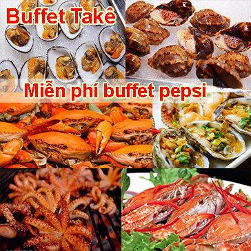 Buffet Tối Ốc, Hải Sản, BBQ & Lẩu Gần 60 Món - Cua/ Ghẹ Ăn Không Giới Hạn Tại Buffet Takê - Miễn Phí Buffet Nước Uống