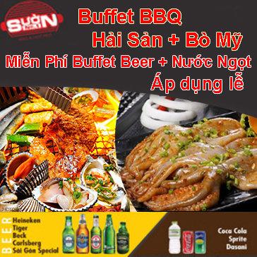 Buffet Tối Hải Sản & Thịt Bò Mỹ Nướng Không Giới Hạn, Free...