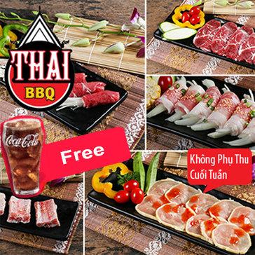 Buffet Nướng Lẩu Menu VIP, Không Phụ Thu, Free Coca - Thái BBQ Time...