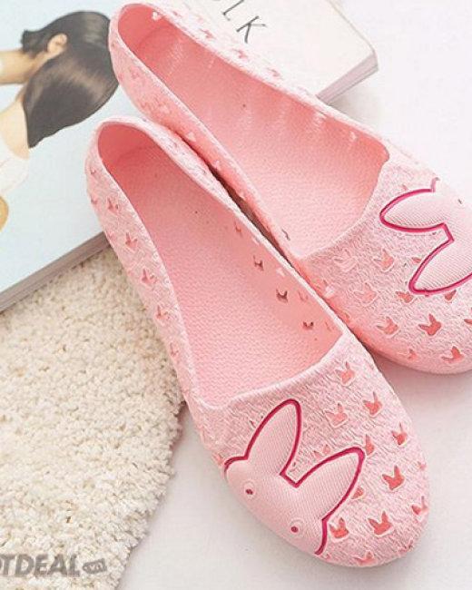 Giày Búp Bê Nhựa Dẻo Đi Mưa Thỏ Sắc Màu