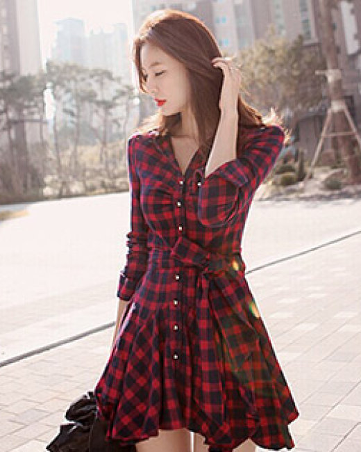 Đầm Sơ Mi Caro Fashion