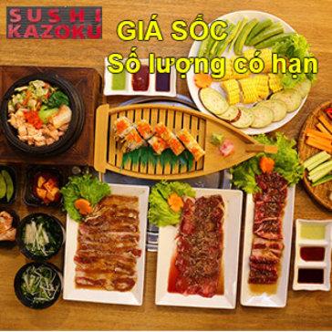 Đại Tiệc 3 Set Menu Bò Mỹ BBQ, Sushi, Cơm Trộn, Súp Bò Dành Cho 2-3 Người Tại Kazoku