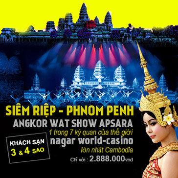 Tour Campuchia 3N3Đ – Siem Reap – PhnomPenh – Khám Phá Kỳ Quan Angkor Wat – Naga World