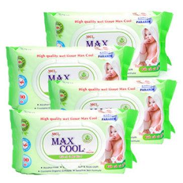 Combo 4 Gói Khăn Ướt Max Cool 100 Tờ, Không Mùi