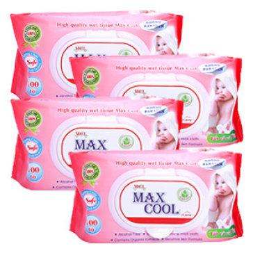 Combo 4 Gói Khăn Ướt Max Cool 100 Tờ, Có Mùi