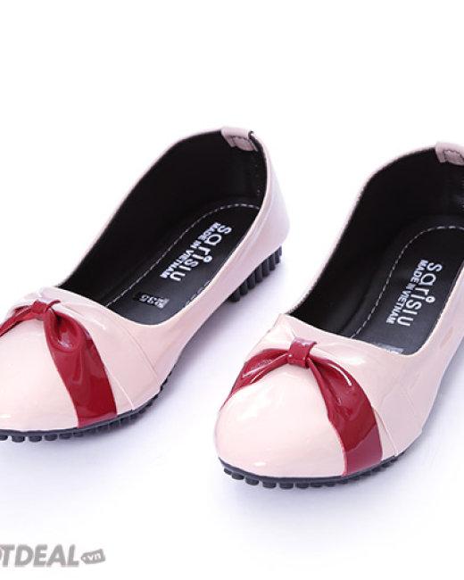 Giày Búp Bê Nơ Phối Màu Sarisiu 816