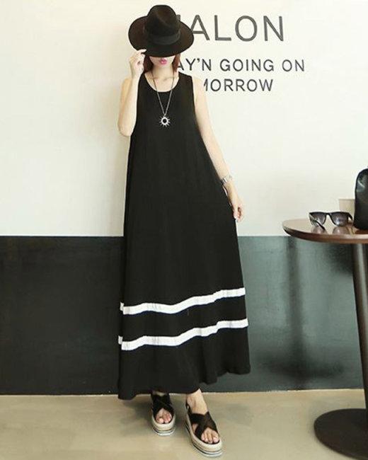 Đầm Maxi Phối Viền Style Korea