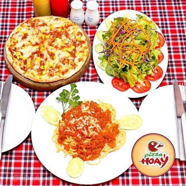 Set Pizza, Mỳ Ý Kèm Đồ Uống Hấp Dẫn Cho 2 Người Tại Pizza Hoa...