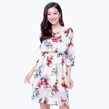 Đầm Voan Hoa 2 Tầng Hana