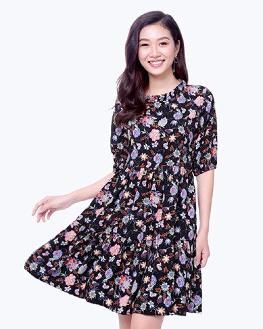 Đầm Hoa Nhún Bèo Pha Đuôi Cá