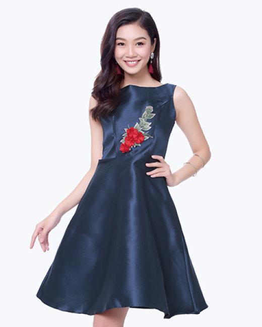 Đầm Xòe Dự Tiệc Đính Hoa Tiểu Thư